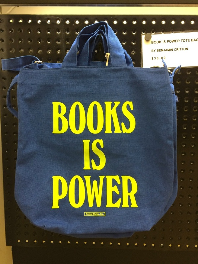 BOOKS IS POWER Tote [Blue & Chartreuse] thumbnail 1