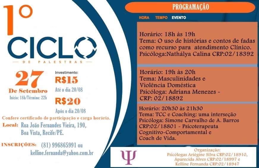 1º CICLO DE PALESTRAS EM PSICOLOGIA