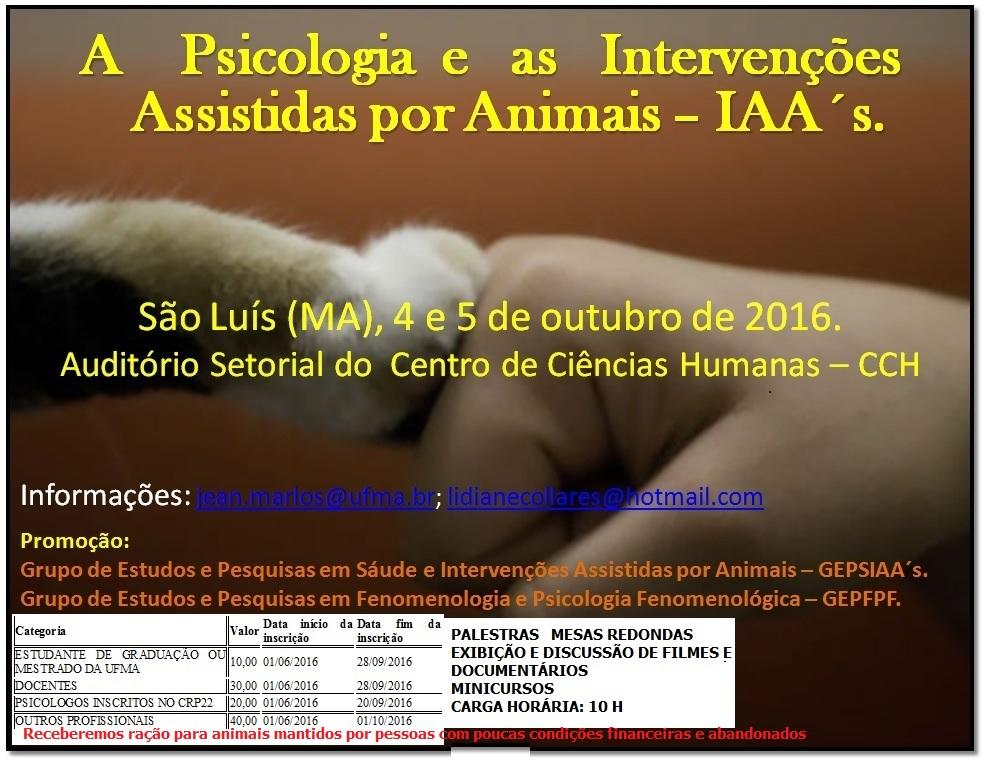 II Encontro A Psicologia e as Intervenções Assistidas por Animais - IAA´s