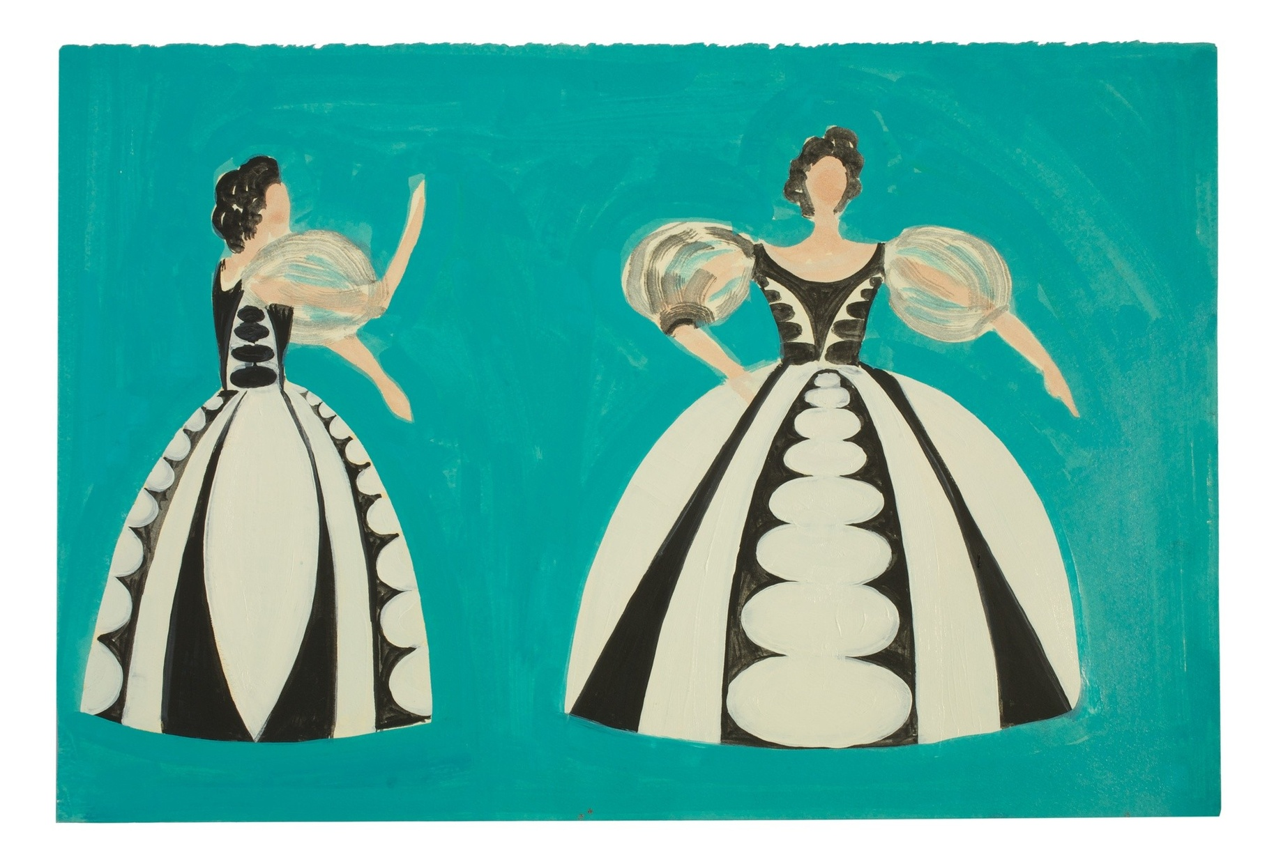 A drawing of a woman in profile wearing a black and white ballgown next to the same woman facing forward on a turquoise background.