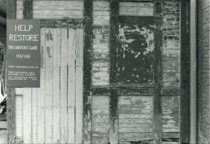 FIG. 5: With its windows boarded up and shingles weathered, Gravers Lane Station (built in 1883) stood vacant before the Chestnut Hill Historical Society undertook a major restoration project in the 1980s. Image courtesy of Chestnut Hill Conservancy, Philadelphia, PA. Catalog No. 1996.604.11, Nancy Hubby Collection.