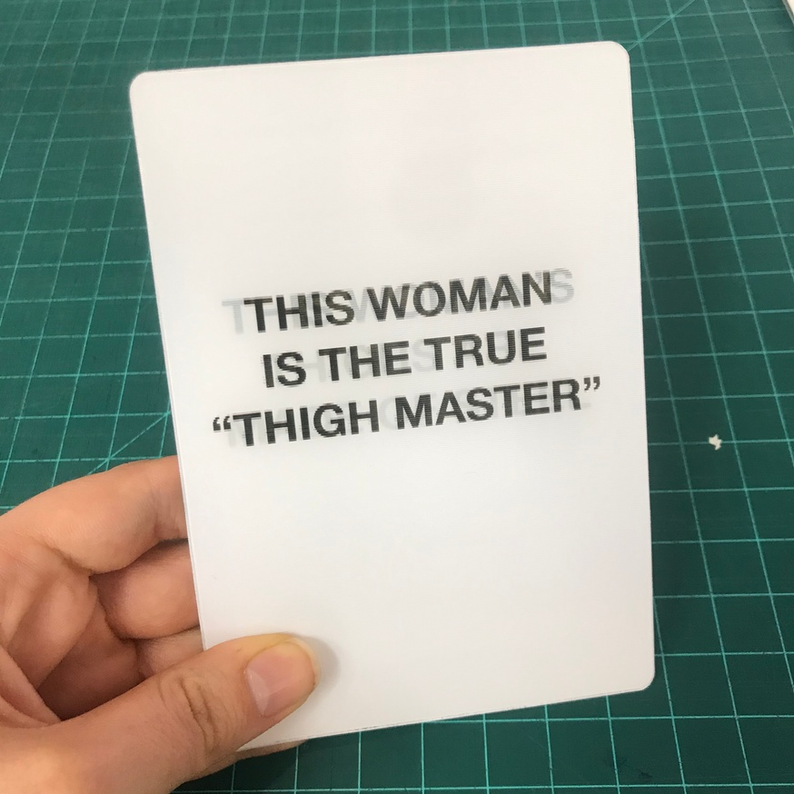 """Headline A/B Test: This Woman Is The True """"Thigh Master"""" / This Woman's Thighs Are Made of Steel [Lenticular Card]"""