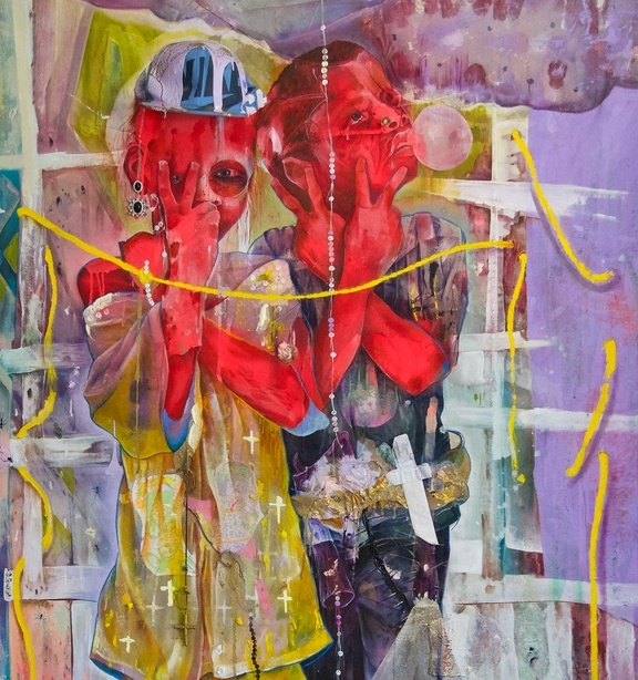 Abstract painting in multicolor of two red child-like figures holding up two fingers with a yellow string across them