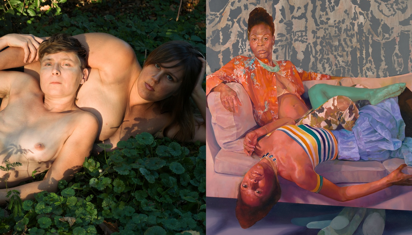 Left: two semi-clothed figures reclining on green foliage; right: two clothed figures lying on a couch
