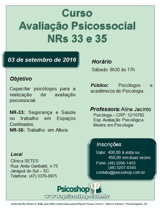 Curso  Avaliação Psicossocial: NRs 33 e 35