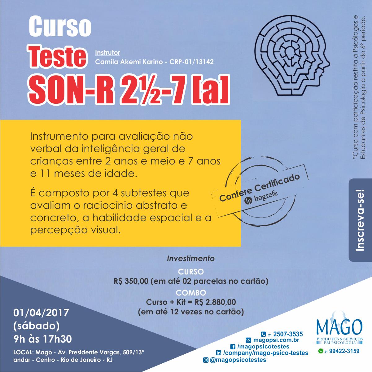 Curso do TESTE SON-R 2½-7 [a]