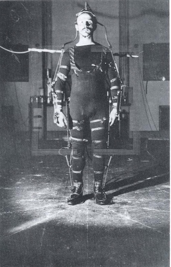 """Subject wearing experimental suit for physiological research,"" circa 1895. Published in Otto Fischer, Der Gang des Menschen (Leipzig: B.G. Teubner, 1900)."