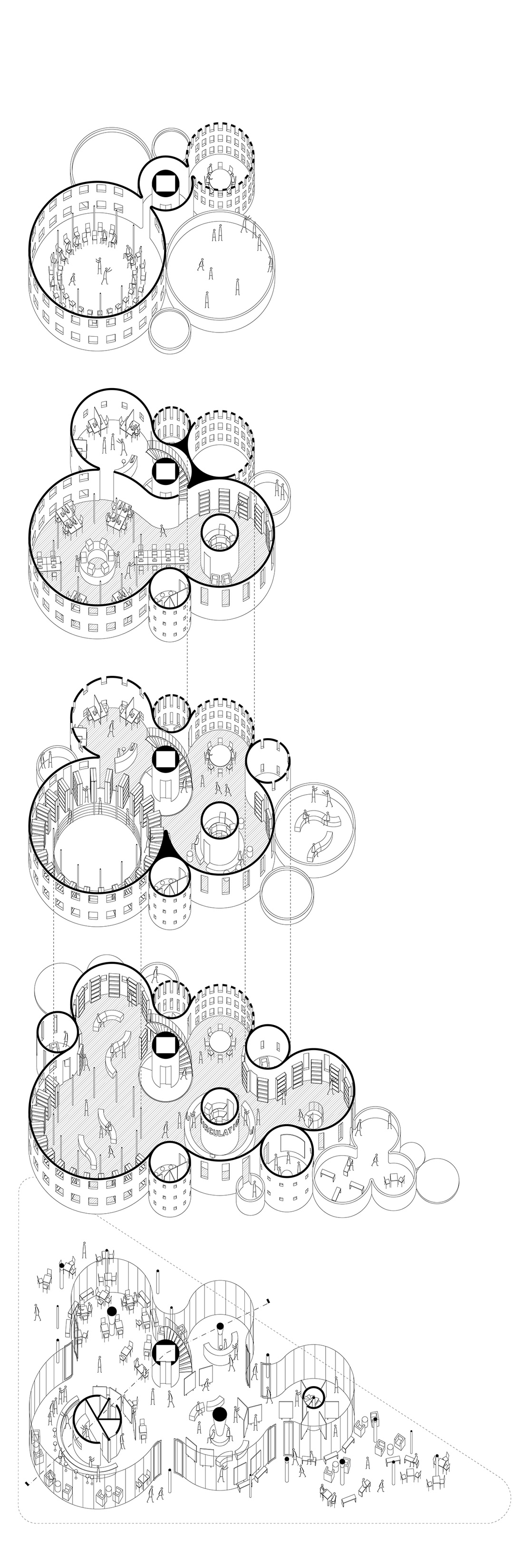 Exploded axonometric drawing by Liwei Wang.