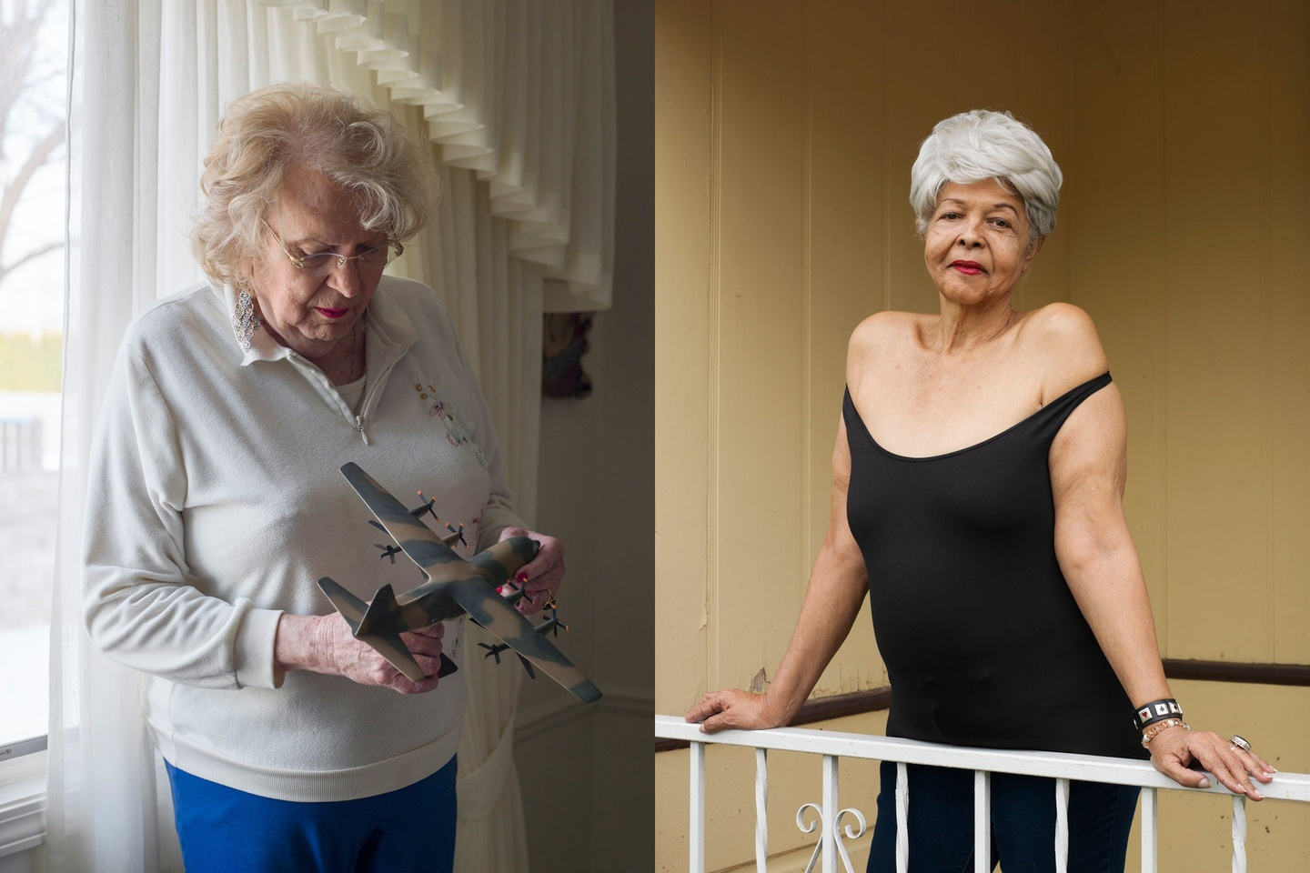 Two photos set side-by-side; the first is an older individual holding and looking at a miniature airplane; the second is of an individual in a black dress, standing tall holding onto a railing.