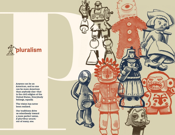 Book page for the letter P-Pluralism, featuring a text block as well as illustrations in red, navy blue, and black of an assortment of toy figures, including robots, dolls, and aliens.