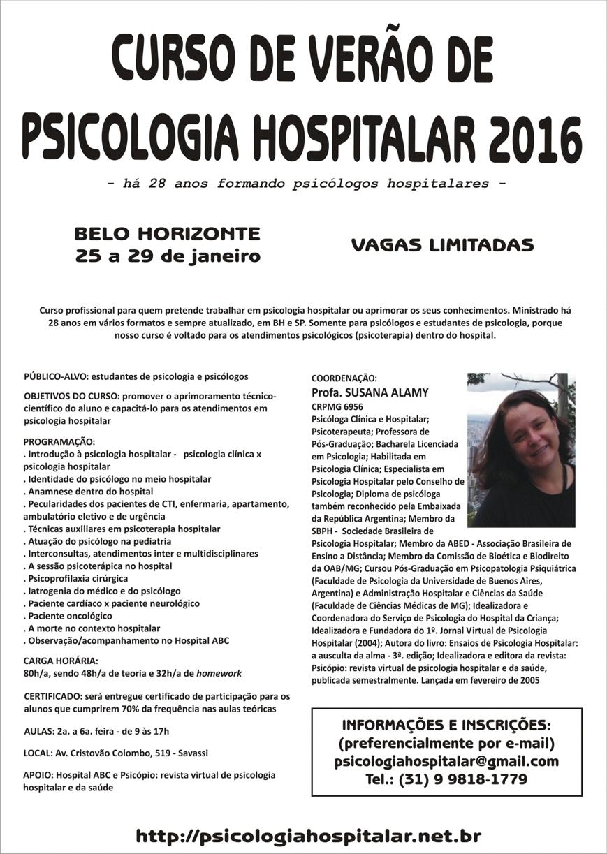 Curso de Verão de Psicologia Hospitalar em SP 2016