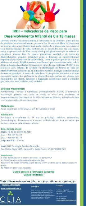 IRDI – Indicadores de Risco para Desenvolvimento Infantil de 0 a 18 meses