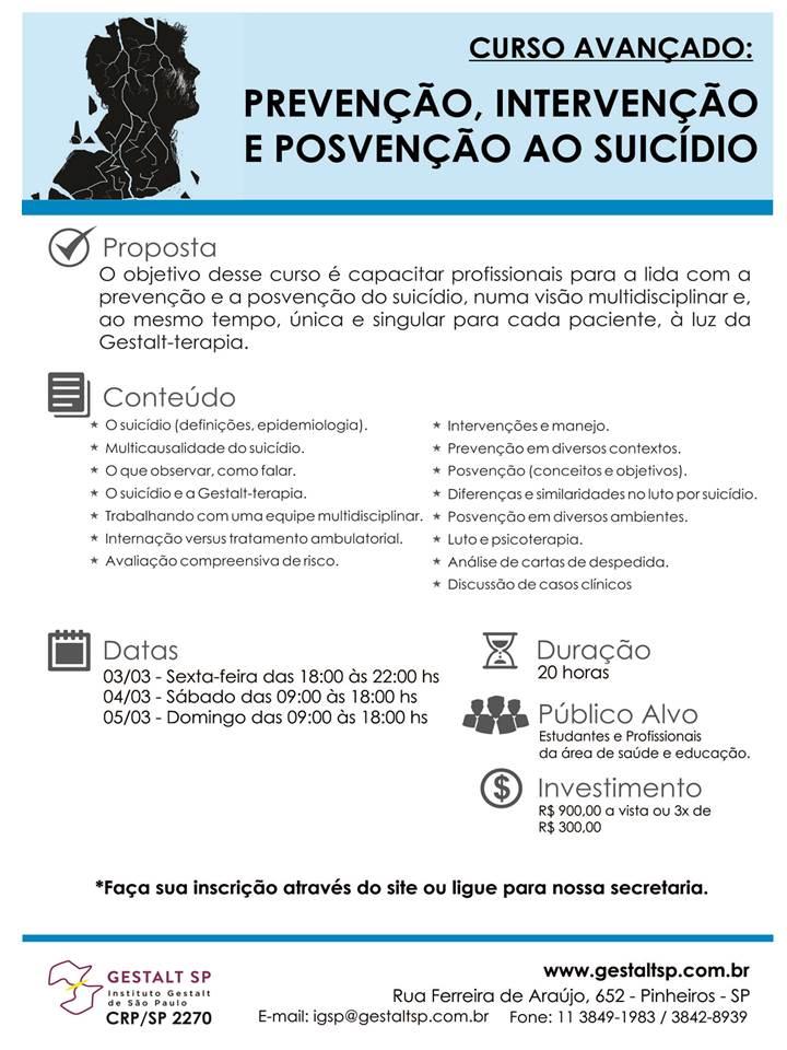 Curso Avançado: Prevenção, Intervenção e Posvenção ao Suicidio