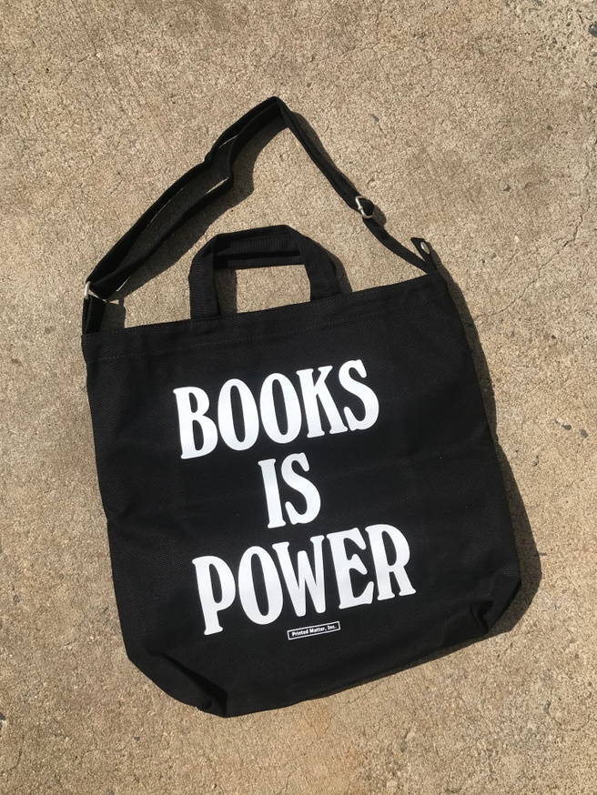 BOOKS IS POWER Tote (White and Black)
