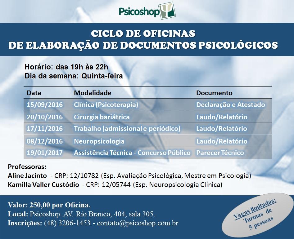 Ciclo de Oficinas de Elaboração de Documentos Psicológicos