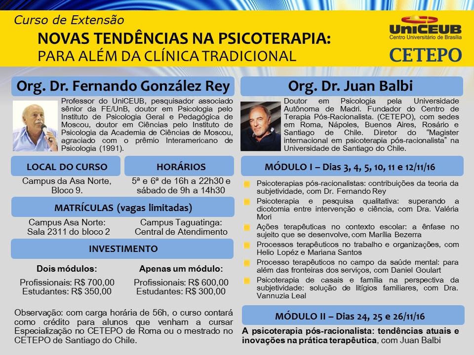 """Curso de extensão: """"Novas tendências na psicoterapia: para além da clínica tradicional"""" (UniCEUB)."""