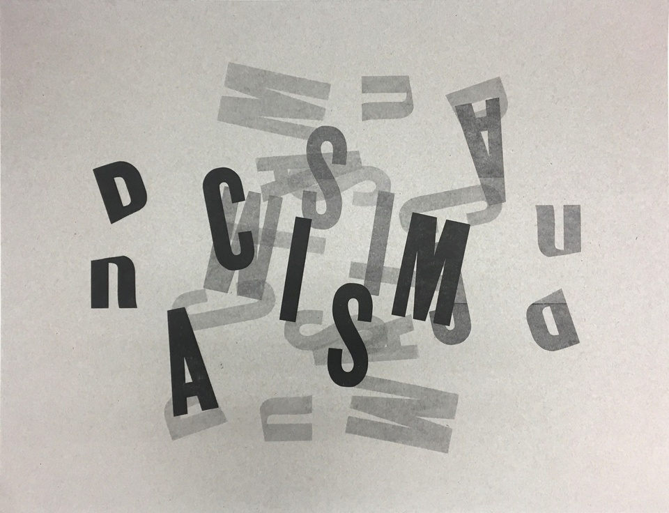 Monoprint with black and gray type that has a jumble of letters.