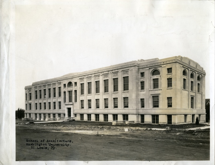 """Discolored black and white photo of a Beau-arts era building. Text stamped in the corner reads """"School of Architecture, Washington University. St. Louis, Mo."""""""