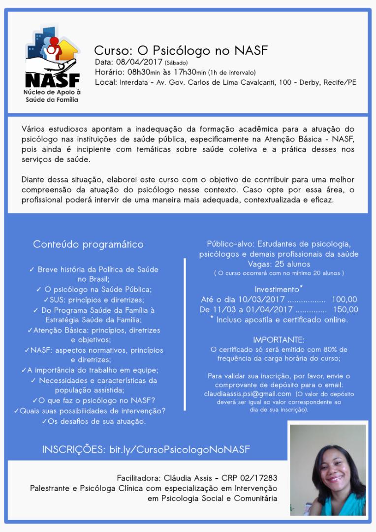 Curso: O Psicólogo no Núcleo de Apoio à Saúde da Família (NASF)