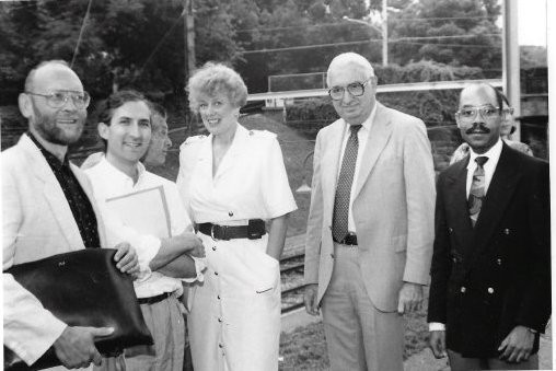 FIG. 7: Gordon Linton Jr. (far right), the state representative for WMAN, joins Friends of Allen Lane Station (far left) and two SEPTA officials (center) in 1992 for a celebration of the restoration of Allen Lane Station. Image courtesy of the Chestnut Hill Conservancy, Philadelphia, PA. Catalog No. 2007.2.408.12.