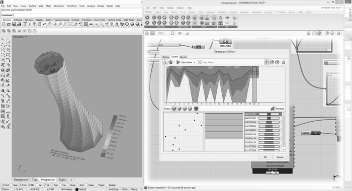 Screenshot of Galapagos form optimization fitness test in Grasshopper/Rhino.