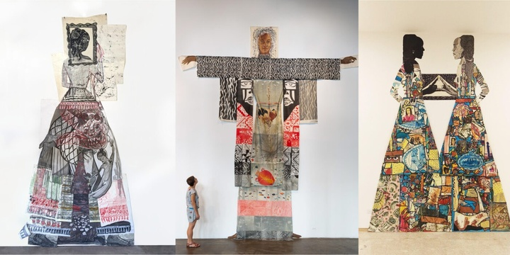 Set of three images of work; the left features a collaged figure with a frame around her head; the second shows a person in a gallery space, gazing up at a large-scale wall installation of a figure; the third is a pair of figures facing each other, hands reaching out to one another; they both have bright, multi-patterned skirts that blend into each other.