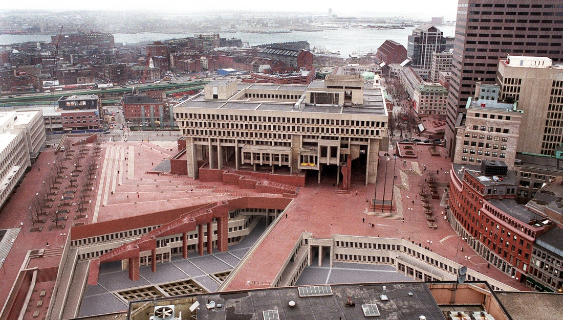 Rendering of Boston City Hall Plaza with new intervention.