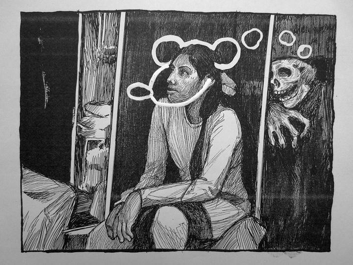 Drawing of a seated woman with white circles around her head, leading behind her to a skeletal figure