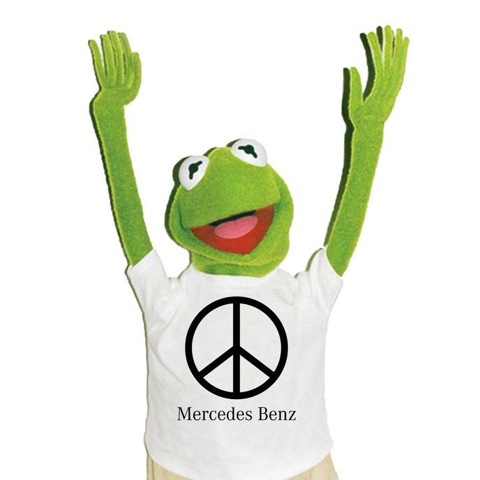 Mercedes Benz Peace Sign Bootleg T-Shirt [S, XXL]