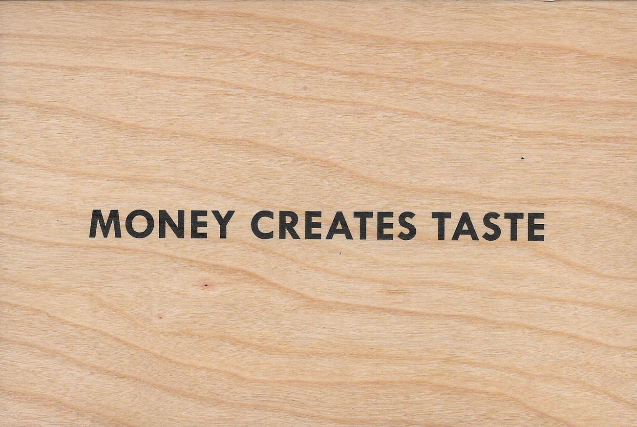 Money Creates Taste Wooden Postcard thumbnail 1