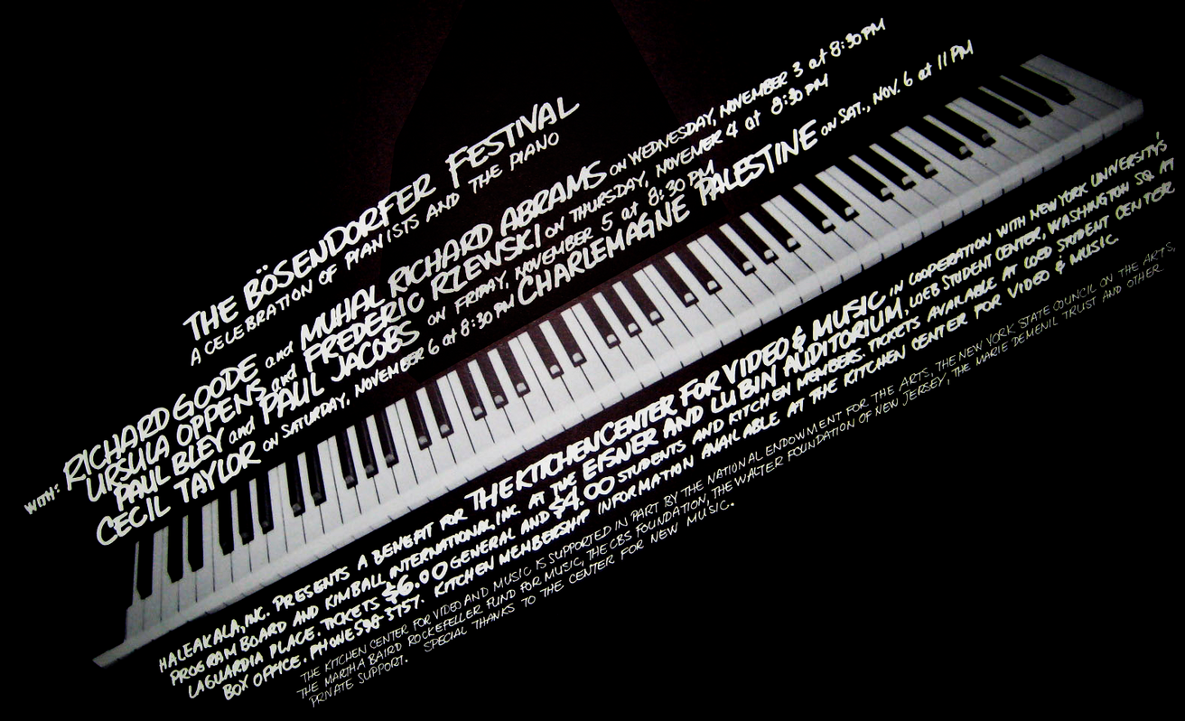 The Bosendorfer Festival: A Celebration of Pianists and The Piano, November 3-6, 1976 [The Kitchen Posters]