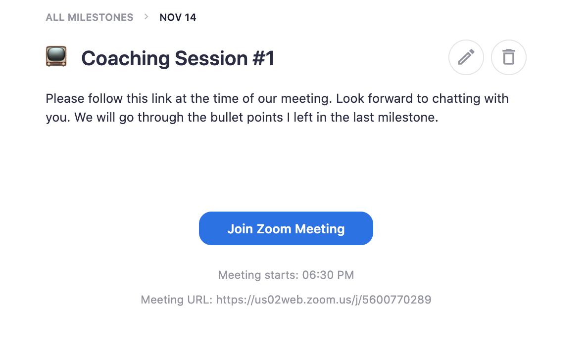Teachable Coaching Meeting Milestone