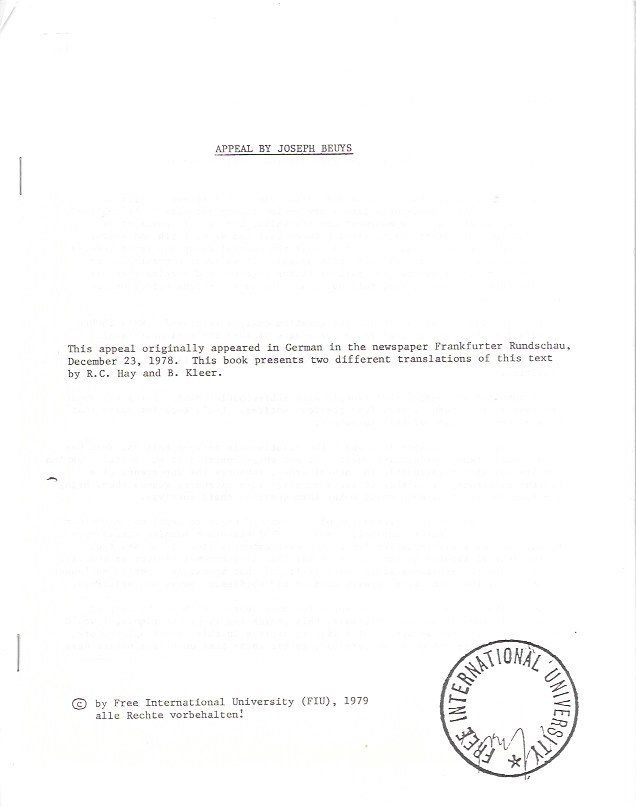 Appeal by Joseph Beuys [includes other Beuys ephemera]