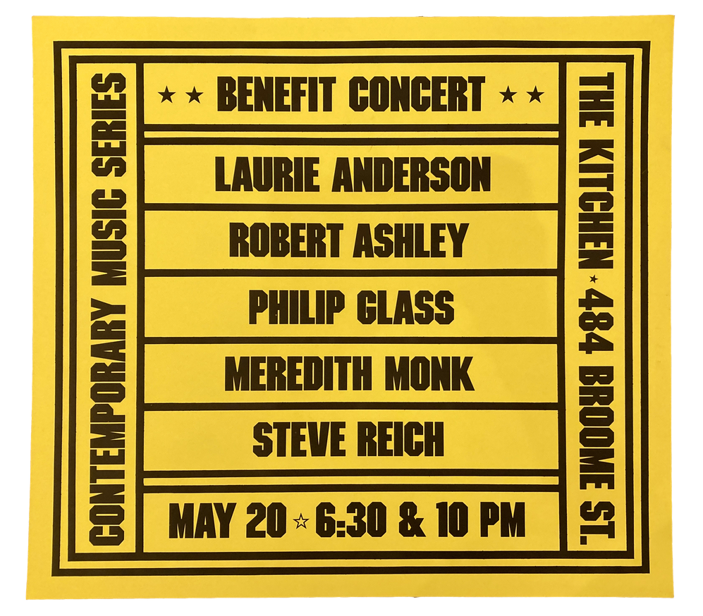 Benefit Concert, May 20, 1978 (Unsigned) [The Kitchen Posters]