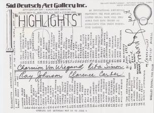 Untitled [Silhouette University, Ray Johnson, Charmion Von Wiegand, Clarence Carter, Rita Simon]