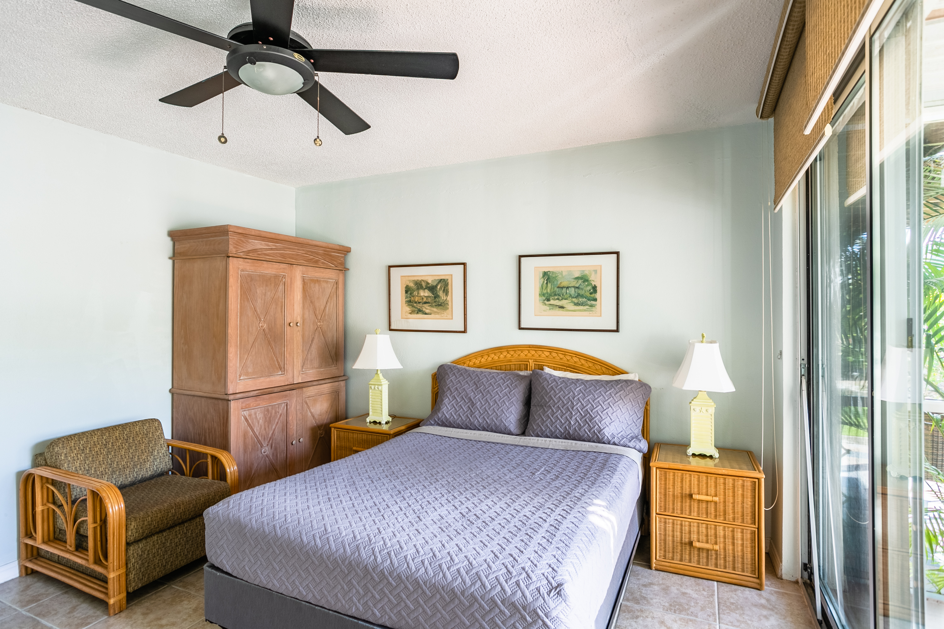Bedroom with Ceiling fan and A/C