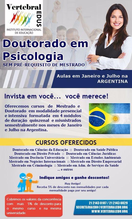 Doutorado em Psicologia na Argentina - VertebralEDUS - Instituto Internacional de Educação