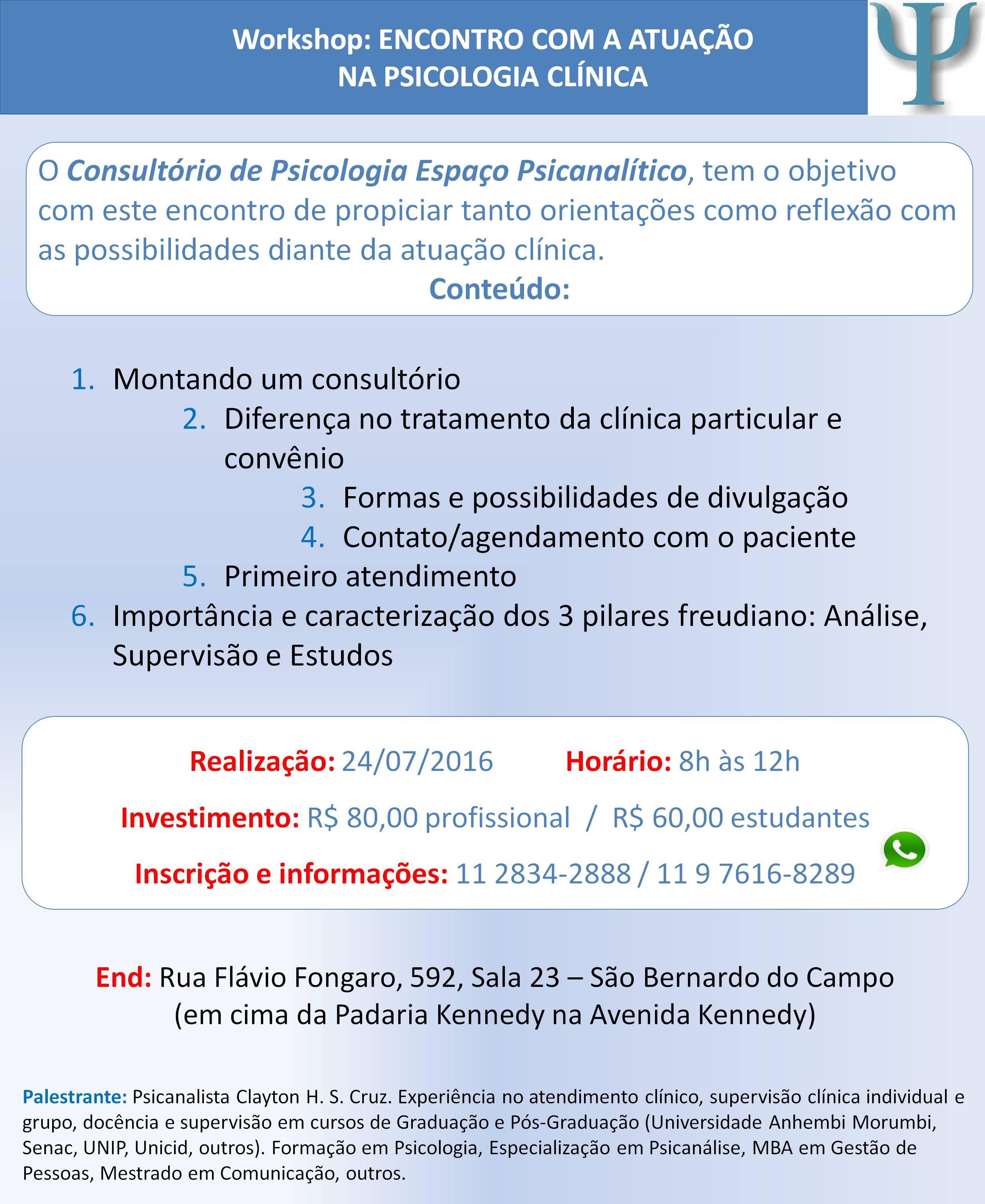 ENCONTRO COM A ATUAÇÃO NA PSICOLOGIA CLÍNICA