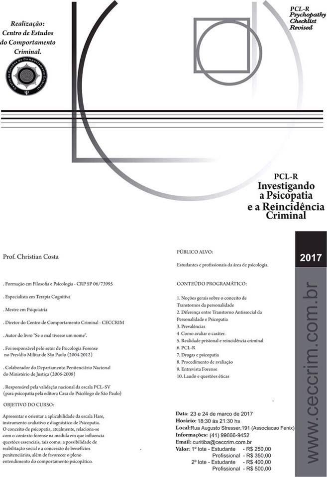 PCL-R Investigando a Psicopatia e a Reincidência Criminal