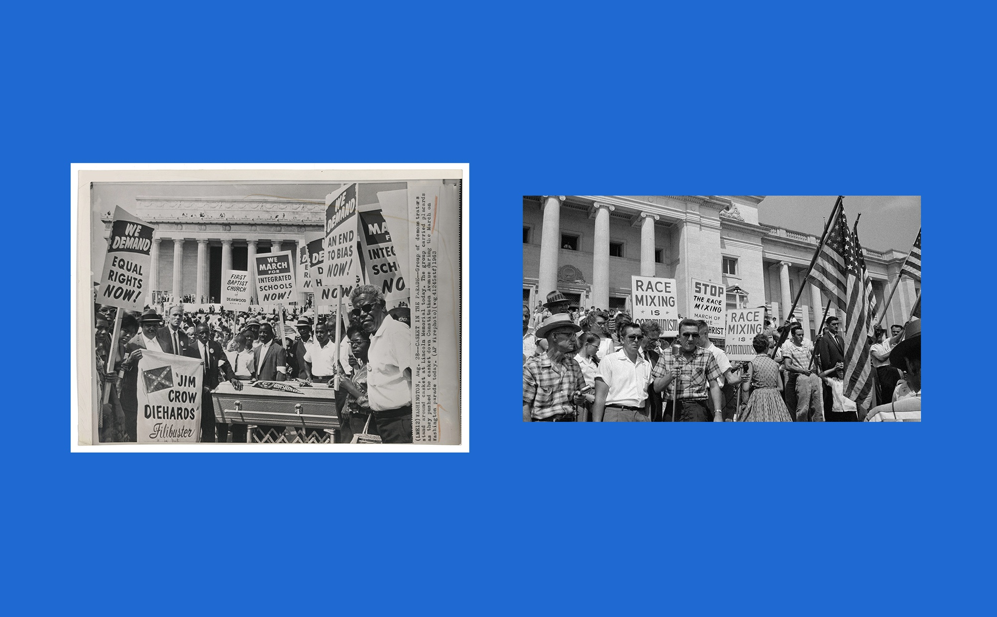 Two images side by side, one image is a black and white photograph of crowd of mostly dark-skinned people surrounding a casket and holding protest signs at the Lincoln Memorial, and the other image is a crowd of light-skinned people holding protest signs and American flags in front of a large building with columns.