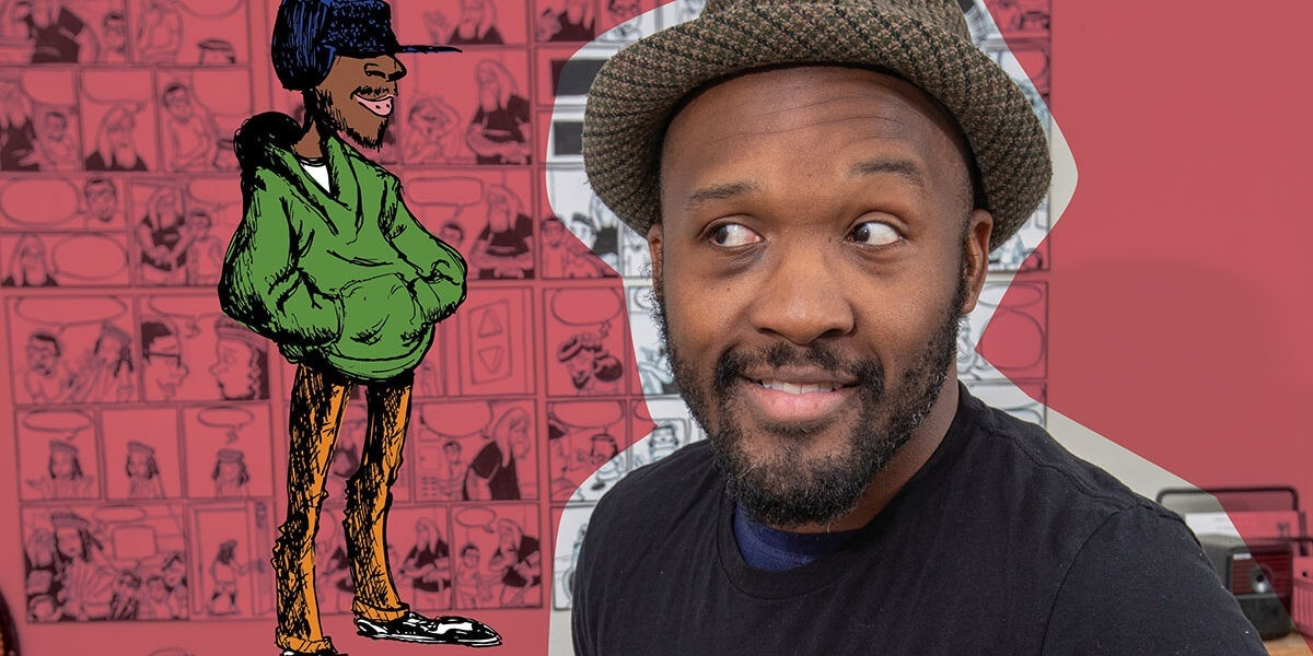 Photo/illustration collage featuring an illustration of a person wearing a green hoodie and orange pants by Dmitrit Jackson next to a photo of Jackson. In the background are panels of Jackson's comics against a largely pink background.
