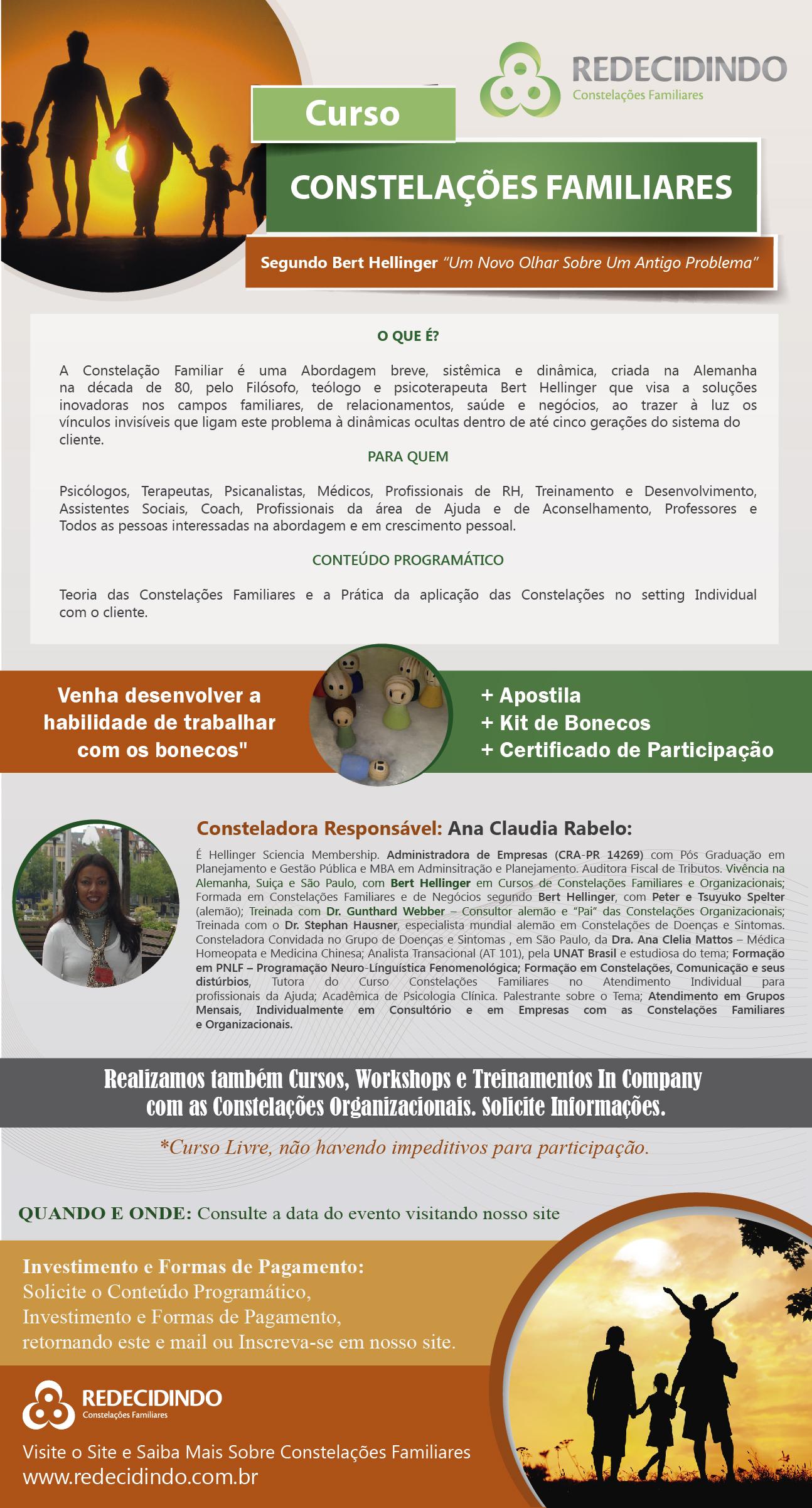 Curso de Constelação Familiar/Atendimento Individual no Consultório com Bonecos.