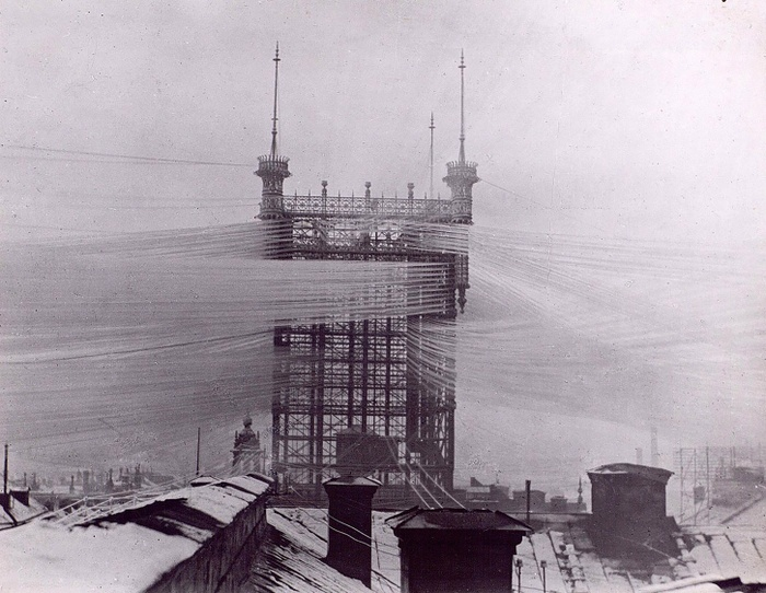Fig 2: Stockholm telephone tower, circa 1890. Courtesy of Tekniska museet.