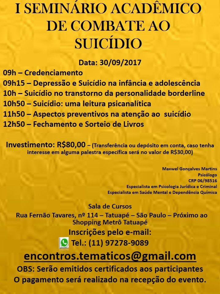 I Seminário Acadêmico de Combate ao Suicídio