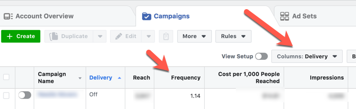 Screenshot: Where to find the frequency metric inside Facebook Ads Manager.