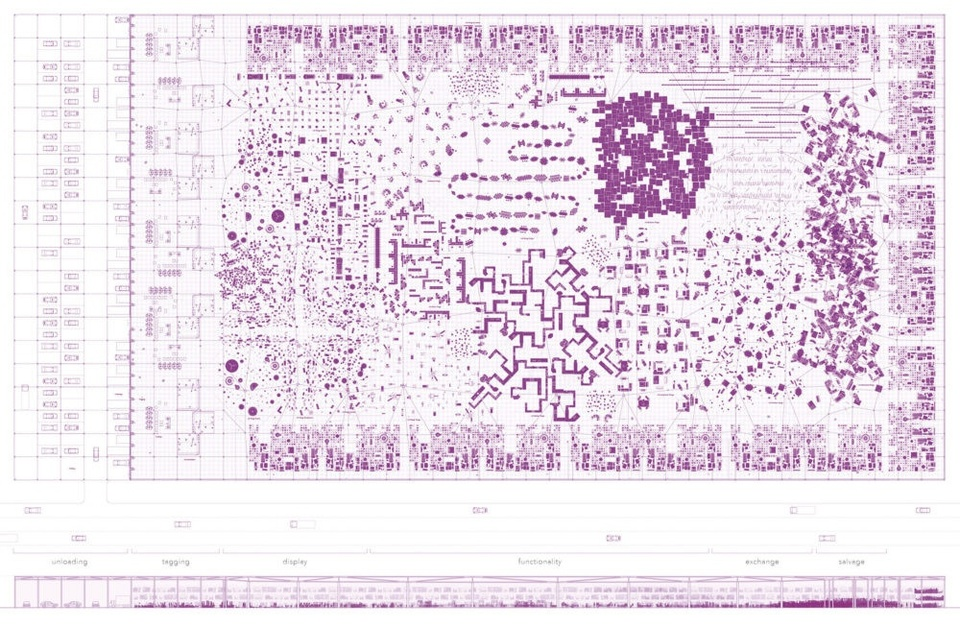 Purple planometric and sectional views of shared storage spaces by Lily Zhang.