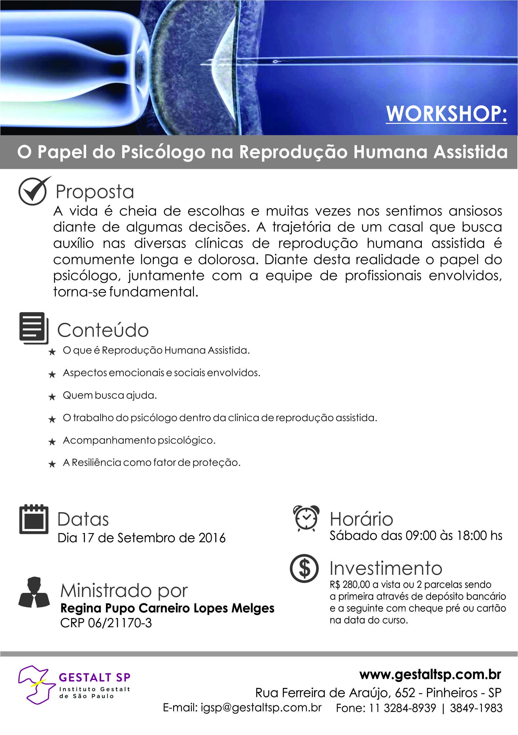 Workshop: O papael do Psicologo na Reprodução Assistida