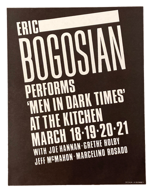 Men in Dark Times, March 18-21, 1982  [The Kitchen Posters]