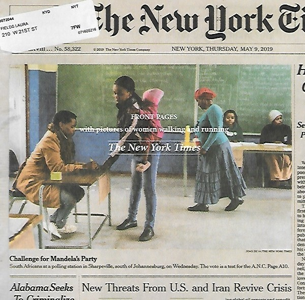 Front Pages with Pictures of Women Walking and Running: The New York Times